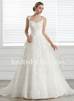 Wedding Dresses - $229.99 - Ball-Gown Sweetheart Court Train Tulle Wedding Dress With Lace Beadwork (002005283) http://jenjenhouse.com/Ball-Gown-Sweetheart-Court-Train-Tulle-Wedding-Dress-With-Lace-Beadwork-002005283-g5283