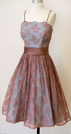 1950s Party Prom Dress with Terra Cotta Lace over Aqua Satin, a stunning contrast in color and texture. Love the satin cinched waist with tie back