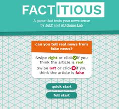 Free Technology for Teachers: Factitious – A Game That Tests Your Ability to Spot Fake News Source Social Studies Notebook, Teaching Social Studies, Student Teaching, Library Skills, Library Lessons, Piano Lessons, Library Ideas, Games Memes, Middle School Libraries