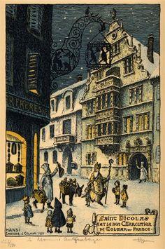 Saint Nicolas et le bon charcutier de Colmar en France. Carte de vœux Fincker Frères, dessinée par Hansi, imagier à Colmar, en 1938 (collection Y.B. Wintzenheim)
