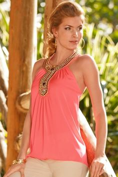 Embellished neon halter blouse in {productContextTitle} from {brandTitle} on shop.CatalogSpree.com, your personal digital mall.