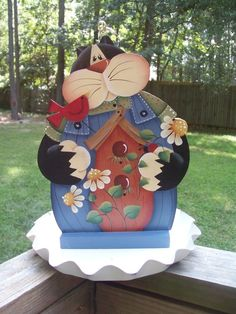 Hand painted Kitty Bird Feeder by stephskeepsakes on Etsy