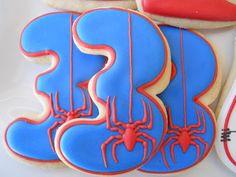 Spiderman themed 3rd Birthday cookies