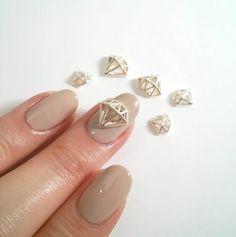 2 Pcs Silver Diamond Metallic 3D Nail Art Charm / Decorations 10mm