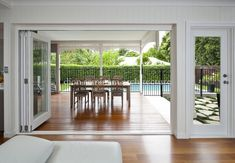 Bifolding doors onto patio creates a nice open space feel