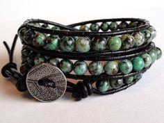 African Turquoise Black Leather Wrap Bracelet