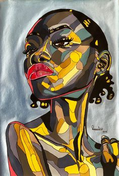 REWA - NWANNE Illustration Pop Art, Illustrations, Art Sketches, Art Drawings, African Art Paintings, Pop Art Paintings, Abstract Face Art, Black Art Painting, Black Love Art