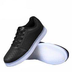 DoGeek Unisex Hombres Mujeres 7 Colores Light Up LED Zapatos Blanco Negro (Elegir 1 Tama?o Más Grande) (39 EU, 1 Blanco)