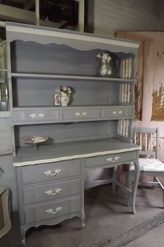 Reserved for Kara   French Country, Farmhouse, shabby chic, Paris Apt , Hand Painted Desk, Hutch-top & Chair by JunqueChic on Etsy https://www.etsy.com/listing/107536577/reserved-for-kara-french-country