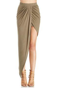 Draped Knit High Low Skirt