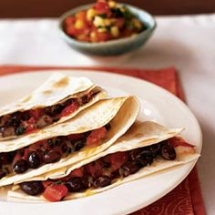 Black Bean Quesadillas with Corn Salsa | CookingLight.com