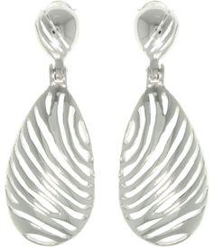 Jewelry Trends Sterling Silver Zebra Stripe Animal Print Oval Dangle E | Jewelry Trends