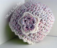 Cream Crochet Hat with Flower 6-12 months