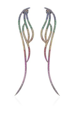 Multi-Colored Rainbow Sapphire Flow Long Four Lines Earring by AS29 for Preorder on Moda Operandi