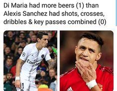 Di Maria had more beers than Alexis Sanchez had shots crosses dribbles & key passes combined