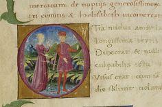 Medieval Manuscript Images, Pierpont Morgan Library, Epithalamium de nuptiis Petri Comitis et Helisabeth Vicomercatae. MS M.1148 fol. 1r