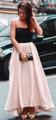 gorgeous party dress, strapless black and pink long prom dress, 2018 prom dress, formal evening dress