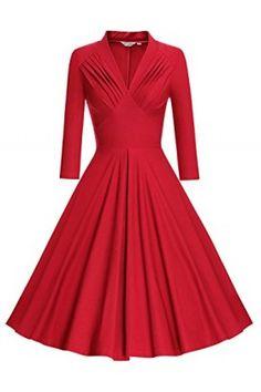 6b79de1b360913 MUXXN Dresses - MUXXN Women's V Neck Elegant 3/4 Sleeve Vintage Bridesmaid  Party Dress