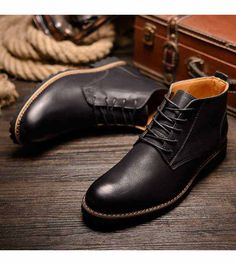 Men's #black leather Derby dress shoe #boots, retro element, Lace up style, casual, leisure, work, office occasions.