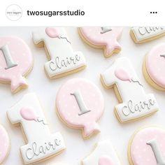 What gorgeous First Birthday Cookies @twosugarsstudio