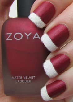 Take a peek at this very creative and classy Christmas nail art. Use a matte red color to fill the nails and add fur embellishments as French tips. Simple yet very eye catching design.