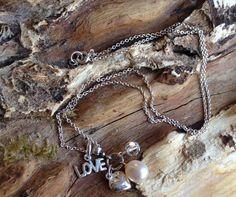 Charm Necklace - 9mm Teardrop Pearl, Round Swarovski Crystal, Love Charm & Puff Heart Sterling Silver Pendant Drop Choker