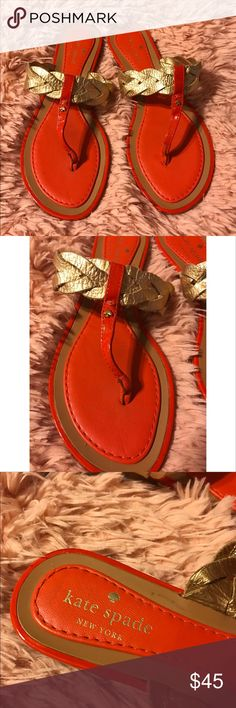 """Kate Spade Gold and Orange Ingrid Sandals.Sz 6 1/2 Leather sole Heel measures approximately 0.75"""" Made in Brazil.....top good condition ....bottom some wear ....Fast Shipping kate spade Shoes Sandals"""