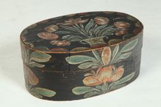 """Decorated Bentwood Box.  Attributed to Heinrich Bucher (Berks Country, Pennsylvania. late 18th early 19th Century .  Oval bentwood box with lapped seams.  Original Painted flower basket decoration Minor wear 65""""h. 15.5""""l  Garth Auction  Estimate $1,500 - 3,000"""