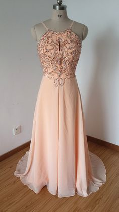 2015 Sexy Backless Spaghetti Straps Light Peach Chiffon Beaded Long Prom Dress with Long Train