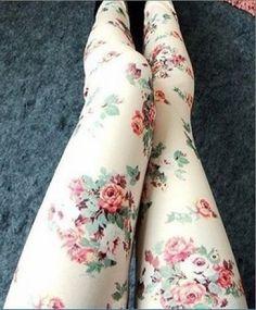 Vintage Rose Pattern Leggings