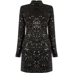 Warehouse Warehouse High Neck Sequin Dress Size 6 (185 RON) ❤ liked on Polyvore featuring dresses, warehouse, sparkly dresses, high neck dress, mini dress, short dresses and sequin mini dress