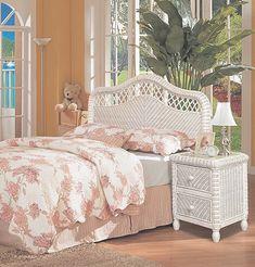 SANTA-CRUZ-2PC-BR-SET-WHITE White Wicker Bedroom Furniture, Beach Furniture, White Bedroom, White Stain, Queen Headboard, Coastal Style, Rattan, Home Decor, Santa Cruz