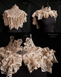 This capelet is inspired by Victorian fashion, adjusted to own design. It's decorated with blush vintage lace and the front closes with a decorative met. Capelet blush, somnia romantica by Marjolein Turin Victorian Era, Victorian Fashion, Vintage Fashion, Victorian Blouse, Capelet, Neck Piece, Steampunk Costume, Lolita Fashion, Gothic Lolita