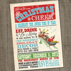 Vintage Christmas Cheer Holiday Christmas PRINTABLE by partymonkey, $15.00