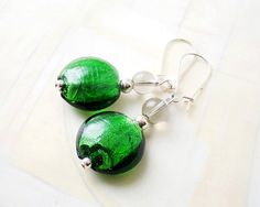 Simple murano glass earrings in green, $13.90