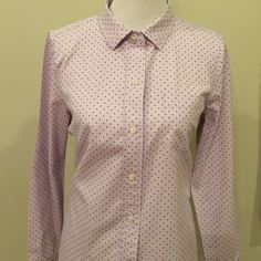 J. Crew polka dot button down In good condition. Pretty lavender color with black dots. J. Crew Tops Button Down Shirts