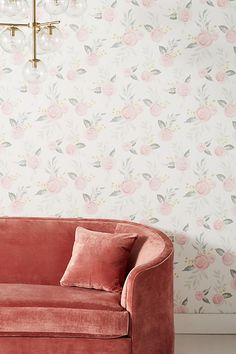 Discover unique wallpaper at Anthropologie, from printed wallpaper to floral wallpaper and more. Watercolor Wallpaper, Rose Wallpaper, Watercolor Rose, Farmhouse Interior, Farmhouse Decor, Living Room Designs, Living Room Decor, Bedroom Decor, Bedroom Ideas