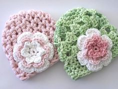 Newborn hat set in pink and green  Great baby shower by lizzziee, $28.00