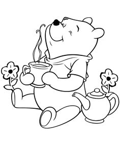 bear coloring pages | Winnie The Pooh Bear Having Tea Coloring Page