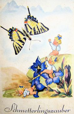 From Schmetterlingszauber (German children's book), 1950, by Anny Kohler, illustrated by Mila Lippmann-Pawlowski.