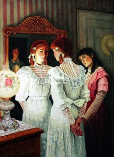 Lauren Mills - Illustration for Anne of Green Gables by L.M Montgomery: Anne at mirror
