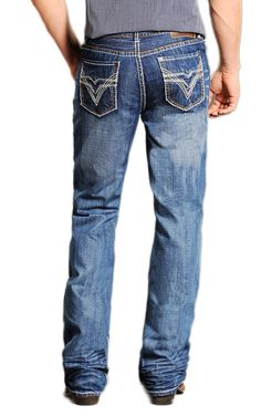 Rock & Roll Cowboy® Medium Stonewash Double Barrel Pieced V Relaxed Fit Boot Cut Jeans