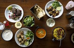 All-day menu dishes at Dishoom Covent Garden. The restaurant, modelled on Bombay-style cafes was chosen by tens of thousands of Yelp reviewers as the best in the UK