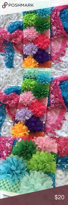 Boutique Baby Messy Flower Headband Set of 9 Very cute messy Chiffon flowers on top of matching colored crocheted headbands. 9 assorted colors in this listing as in pictures above. Great variety of colors! This makes a great baby gift too!! Accessories Hair Accessories