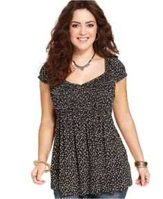 526c6321ba8 American Rag Plus Size Short-Sleeve Floral-Print Babydoll Top - Junior Plus  Sizes