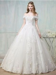 Off-The-Shoulder Appliques Beading Ball Gown Wedding Dress & quality Wedding Dresses