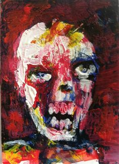 """""""ABSTRACT UNDEAD"""" , horror art,   original art,ACEO  jack larson 3.5""""x2.5"""" #Abstract"""