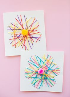 KID-MADE DIY STRING ART FLOWER CARDS
