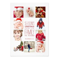 """Space for ten wonderful photos of your beautiful family! In a festive Christmas red and white that's perfect for celebrating the season, this 5x7 card features modern typography and simple styling to highlight your family photos. Room on the back for your own personal holiday message. Perfect for a """"year in review"""" showcase of photos!"""