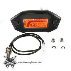 c4fc31c9e59 Velocímetro Tacómetro Modelo KOSO LCD de 2 a 4 Cilindros con Sensor Color  Negro --
